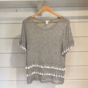H&M Grey Tee with White Tassels Size Medium